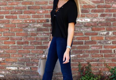 Lace Up Tops and Denim Flares