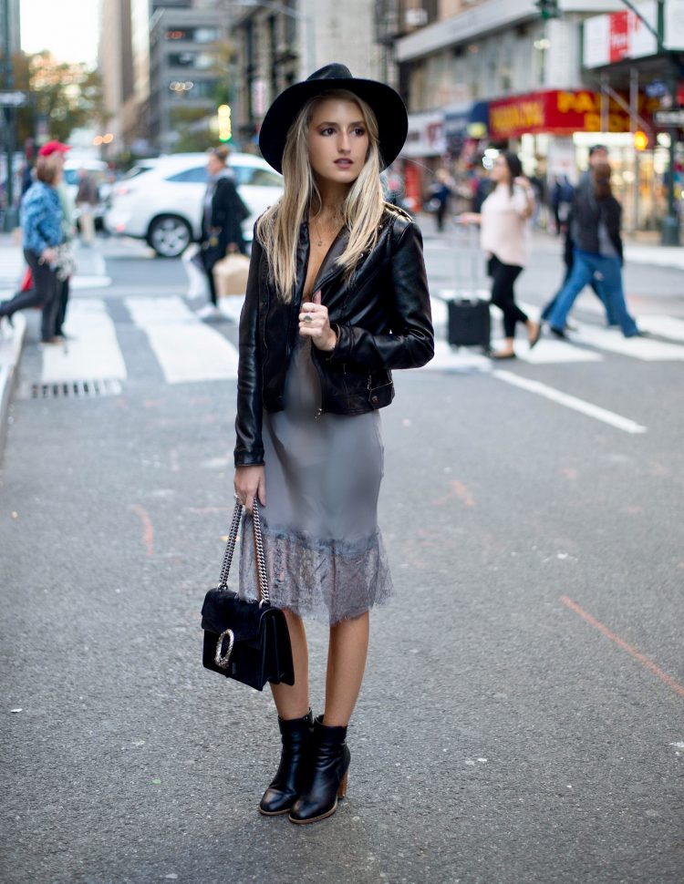 Leather jacket with a slip dress and ankle boots