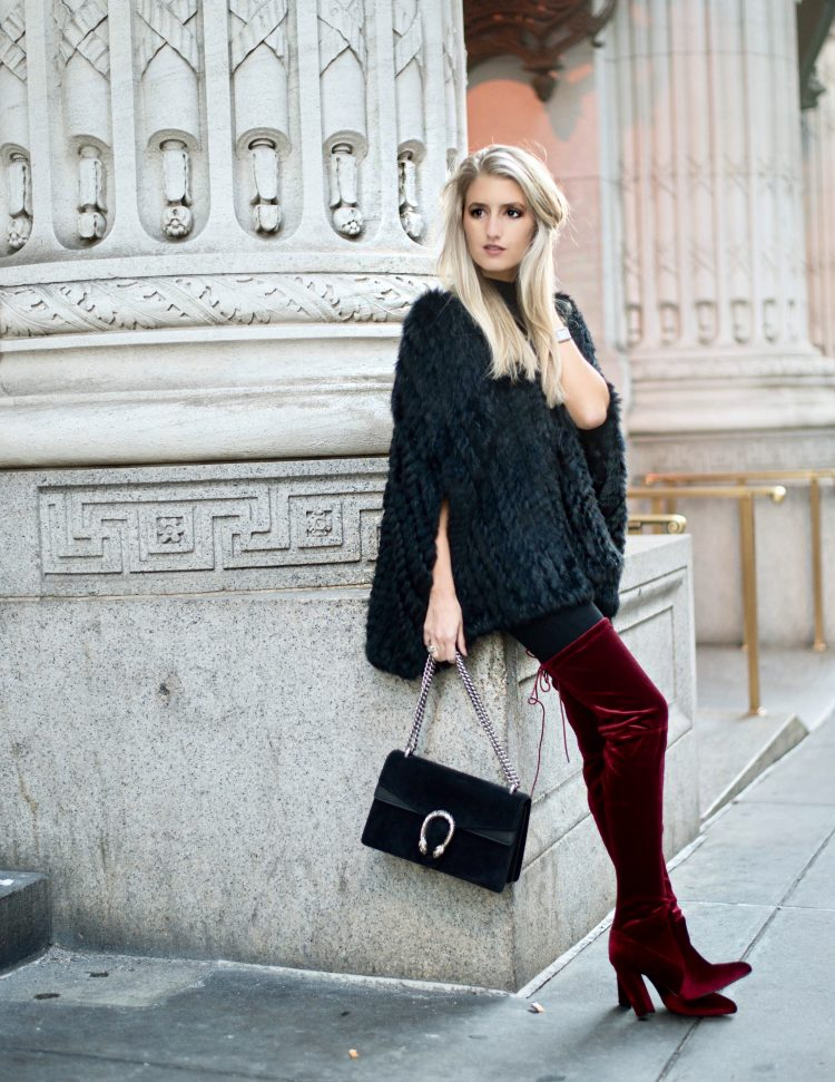 fur capes and over the knee boots
