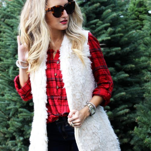plaid shirt, fur vest
