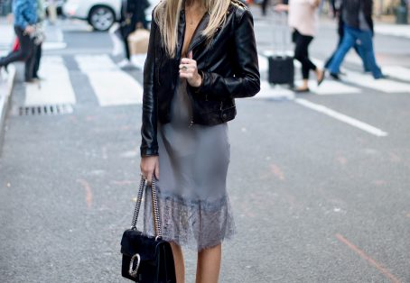 Lace Slip Dress and Leather Jacket